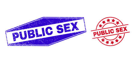 PUBLIC SEX stamps. Red circle and blue stretched hexagon PUBLIC SEX stamps. Flat vector scratched watermarks with PUBLIC SEX text inside circle and stretched hexagon shapes.
