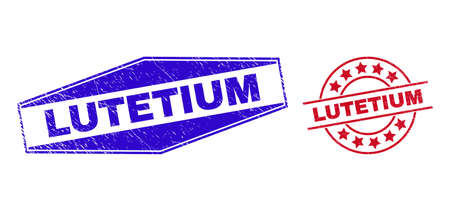 LUTETIUM badges. Red rounded and blue extended hexagonal LUTETIUM stamps. Flat vector scratched stamps with LUTETIUM tag inside rounded and compressed hexagonal shapes. Imprints with unclean texture,