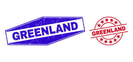 GREENLAND stamps. Red circle and blue stretched hexagonal GREENLAND seal stamps. Flat vector textured seal stamps with GREENLAND text inside circle and stretched hexagon shapes.