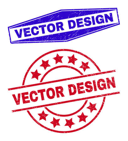 VECTOR DESIGN stamps. Red rounded and blue squeezed hexagonal VECTOR DESIGN stamps. Flat vector grunge stamps with VECTOR DESIGN caption inside rounded and extended hexagonal shapes.