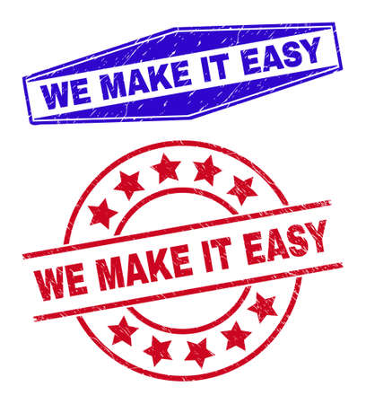 WE MAKE IT EASY stamps. Red round and blue flattened hexagon WE MAKE IT EASY seal stamps. Flat vector distress stamps with WE MAKE IT EASY tag inside round and compressed hexagon shapes. 일러스트