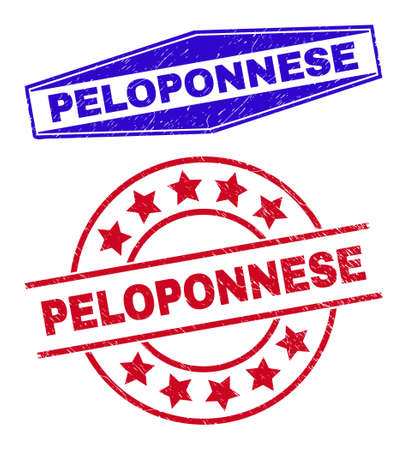 PELOPONNESE badges. Red rounded and blue squeezed hexagon PELOPONNESE seal stamps. Flat vector grunge watermarks with PELOPONNESE phrase inside rounded and flattened hexagon shapes.