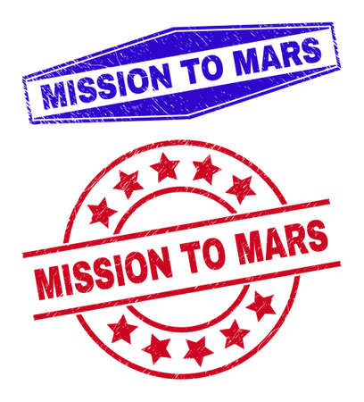 MISSION TO MARS stamps. Red rounded and blue compressed hexagon MISSION TO MARS watermarks. Flat vector grunge watermarks with MISSION TO MARS message inside rounded and compressed hexagon shapes. 일러스트