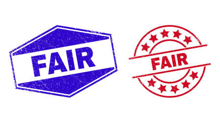 FAIR badges. Red rounded and blue stretched hexagonal FAIR rubber imprints. Flat vector scratched stamps with FAIR text inside rounded and flatten hexagonal shapes.