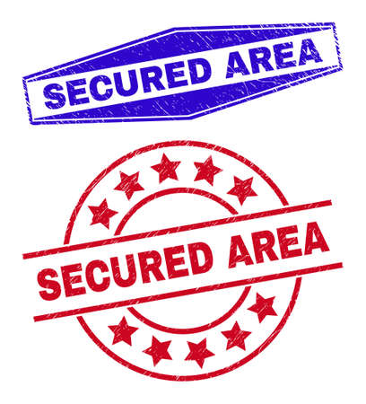 SECURED AREA stamps. Red round and blue squeezed hexagonal SECURED AREA seal stamps. Flat vector distress stamps with SECURED AREA phrase inside circle and squeezed hexagon shapes. 일러스트
