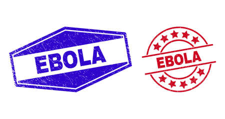 EBOLA stamps. Red circle and blue flattened hexagonal EBOLA seals. Flat vector scratched seals with EBOLA tag inside circle and expanded hexagonal shapes. Watermarks with distress style, 일러스트