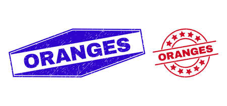 ORANGES badges. Red rounded and blue extended hexagon ORANGES seal stamps. Flat vector textured stamps with ORANGES title inside circle and extended hexagon shapes. Imprints with grunge surface,