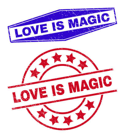 LOVE IS MAGIC stamps. Red rounded and blue extended hexagonal LOVE IS MAGIC rubber imprints. Flat vector scratched stamps with LOVE IS MAGIC slogan inside rounded and extended hexagonal shapes. 일러스트