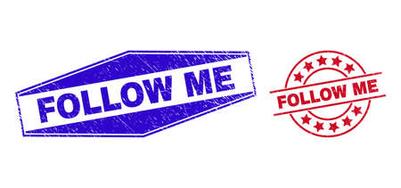 FOLLOW ME stamps. Red circle and blue flatten hexagonal FOLLOW ME stamps. Flat vector scratched stamps with FOLLOW ME title inside circle and extended hexagon shapes. Watermarks with corroded texture, 일러스트