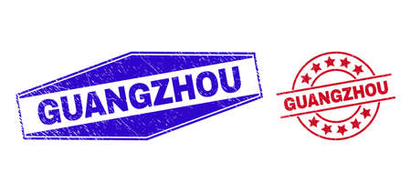 GUANGZHOU stamps. Red round and blue squeezed hexagonal GUANGZHOU stamps. Flat vector distress seal stamps with GUANGZHOU tag inside circle and squeezed hexagonal shapes. Imprints with grunge style,