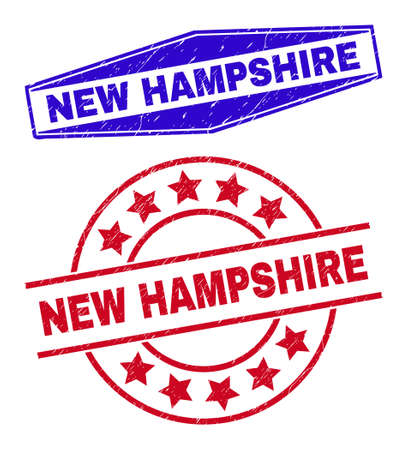 NEW HAMPSHIRE stamps. Red round and blue extended hexagonal NEW HAMPSHIRE rubber imprints. Flat vector distress stamps with NEW HAMPSHIRE text inside round and compressed hexagonal shapes.