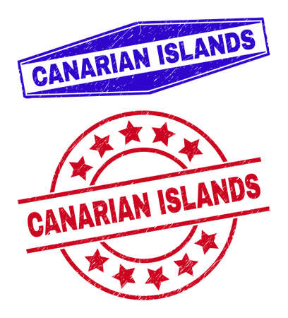 CANARIAN ISLANDS stamps. Red round and blue flatten hexagon CANARIAN ISLANDS seal stamps. Flat vector textured seal stamps with CANARIAN ISLANDS title inside round and squeezed hexagon shapes. 일러스트