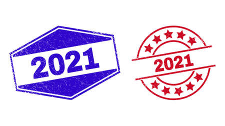 2021 stamps. Red rounded and blue flattened hexagonal 2021 seals. Flat vector scratched watermarks with 2021 caption inside rounded and flattened hexagonal shapes. Watermarks with distress style, 일러스트