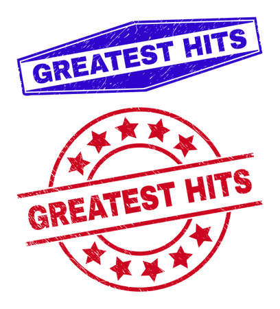 GREATEST HITS stamps. Red rounded and blue extended hexagon GREATEST HITS stamps. Flat vector scratched stamps with GREATEST HITS slogan inside round and flattened hexagonal shapes. Ilustración de vector