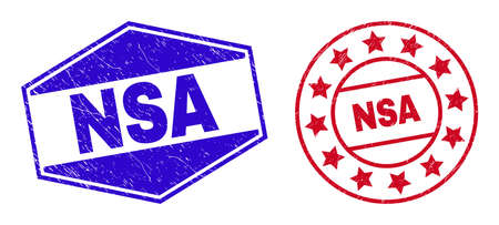 NSA stamps. Red rounded and blue flattened hexagonal NSA seal stamps. Flat vector grunge seals with NSA message inside round and flattened hexagonal shapes. Rubber imitations with grunge style,
