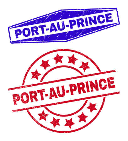 PORT-AU-PRINCE stamps. Red circle and blue squeezed hexagon PORT-AU-PRINCE seals. Flat vector distress stamps with PORT-AU-PRINCE tag inside circle and flattened hexagon shapes. Illustration
