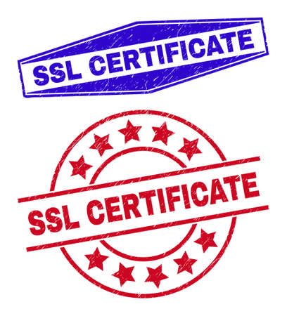 SSL CERTIFICATE stamps. Red round and blue flattened hexagon SSL CERTIFICATE seal stamps. Flat vector textured seal stamps with SSL CERTIFICATE tag inside circle and squeezed hexagon shapes.