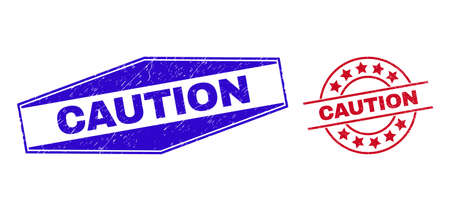 CAUTION stamps. Red circle and blue extended hexagon CAUTION stamps. Flat vector grunge seal stamps with CAUTION title inside rounded and squeezed hexagon shapes.