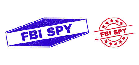 FBI SPY stamps. Red circle and blue stretched hexagon FBI SPY seals. Flat vector grunge seals with FBI SPY slogan inside rounded and stretched hexagon shapes. Rubber imitations with distress texture,