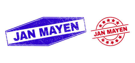 JAN MAYEN stamps. Red circle and blue compressed hexagonal JAN MAYEN seal stamps. Flat vector distress seal stamps with JAN MAYEN caption inside rounded and expanded hexagonal shapes.