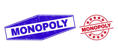 MONOPOLY badges. Red rounded and blue flattened hexagonal MONOPOLY rubber imprints. Flat vector textured seals with MONOPOLY title inside rounded and flatten hexagonal shapes. Vektoros illusztráció