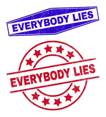 EVERYBODY LIES badges. Red round and blue squeezed hexagonal EVERYBODY LIES seal stamps. Flat vector grunge seal stamps with EVERYBODY LIES tag inside round and compressed hexagonal shapes.