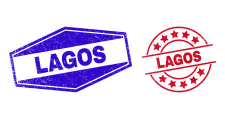 LAGOS stamps. Red round and blue stretched hexagonal LAGOS seal stamps. Flat vector distress stamps with LAGOS caption inside round and expanded hexagonal shapes. Imprints with unclean texture, Vektoros illusztráció