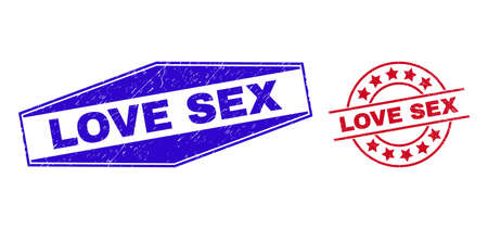 LOVE SEX stamps. Red rounded and blue squeezed hexagon LOVE SEX seal stamps. Flat vector distress seal stamps with LOVE SEX text inside rounded and stretched hexagonal shapes.