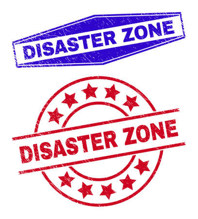 DISASTER ZONE stamps. Red rounded and blue extended hexagonal DISASTER ZONE seal stamps. Flat vector grunge seal stamps with DISASTER ZONE message inside rounded and compressed hexagonal shapes.