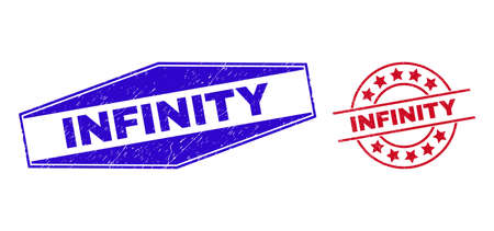 INFINITY stamps. Red circle and blue expanded hexagonal INFINITY watermarks. Flat vector scratched seals with INFINITY text inside circle and expanded hexagonal shapes. Vecteurs