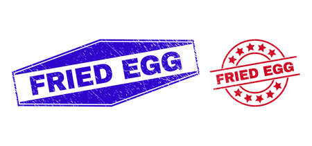 FRIED EGG badges. Red rounded and blue stretched hexagon FRIED EGG seals. Flat vector grunge seals with FRIED EGG tag inside rounded and flatten hexagon shapes. Imprints with grunge surface,