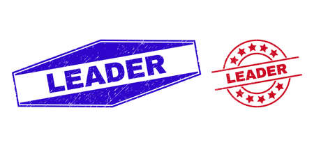 LEADER stamps. Red round and blue flatten hexagonal LEADER stamps. Flat vector distress stamps with LEADER caption inside circle and flatten hexagonal shapes. Watermarks with unclean style,