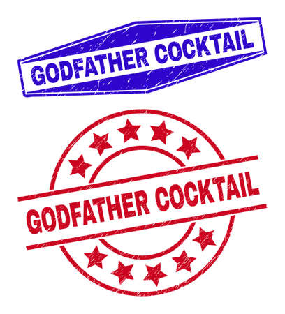 GODFATHER COCKTAIL stamps. Red round and blue flattened hexagon GODFATHER COCKTAIL seal stamps. Flat vector distress seal stamps with GODFATHER COCKTAIL text inside round and extended hexagon shapes.