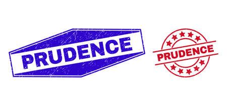 PRUDENCE stamps. Red rounded and blue flattened hexagonal PRUDENCE stamps. Flat vector scratched stamps with PRUDENCE phrase inside rounded and stretched hexagonal shapes.