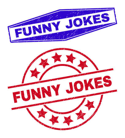 FUNNY JOKES stamps. Red circle and blue squeezed hexagonal FUNNY JOKES seal stamps. Flat vector scratched seal stamps with FUNNY JOKES caption inside circle and flattened hexagonal shapes. Vektorové ilustrace