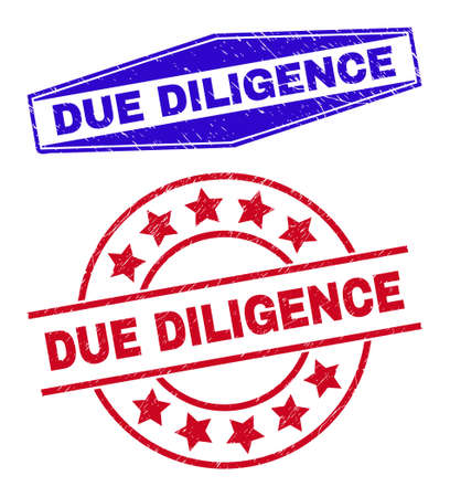 DUE DILIGENCE badges. Red rounded and blue stretched hexagon DUE DILIGENCE rubber imprints. Flat vector distress watermarks with DUE DILIGENCE title inside rounded and flattened hexagon shapes. Vektorové ilustrace
