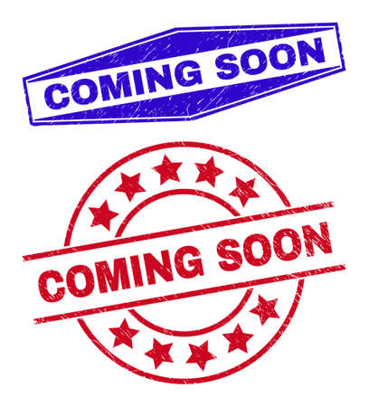 COMING SOON stamps. Red rounded and blue extended hexagonal COMING SOON seal stamps. Flat vector textured seal stamps with COMING SOON tag inside rounded and flatten hexagon shapes.