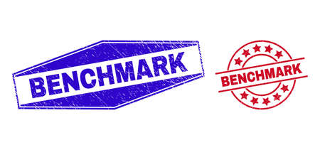 BENCHMARK stamps. Red round and blue extended hexagon BENCHMARK seal stamps. Flat vector scratched seal stamps with BENCHMARK phrase inside round and flattened hexagon shapes. Vektorgrafik