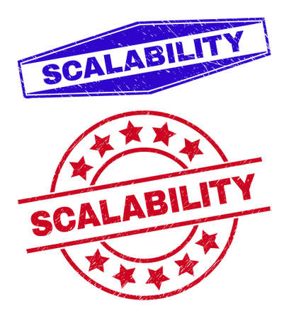 SCALABILITY badges. Red round and blue expanded hexagon SCALABILITY seal stamps. Flat vector distress stamps with SCALABILITY caption inside round and expanded hexagon shapes.