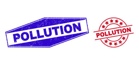 POLLUTION stamps. Red circle and blue compressed hexagonal POLLUTION seal stamps. Flat vector distress seal stamps with POLLUTION phrase inside round and stretched hexagonal shapes.