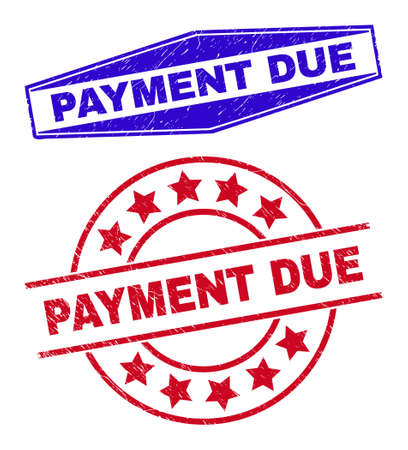 PAYMENT DUE badges. Red circle and blue extended hexagon PAYMENT DUE seal stamps. Flat vector distress seal stamps with PAYMENT DUE text inside round and squeezed hexagon shapes.