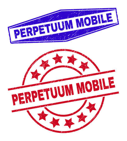 PERPETUUM MOBILE stamps. Red round and blue expanded hexagon PERPETUUM MOBILE rubber imprints. Flat vector distress stamps with PERPETUUM MOBILE text inside round and extended hexagon shapes.