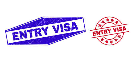 ENTRY VISA badges. Red round and blue flatten hexagon ENTRY VISA seal stamps. Flat vector scratched seal stamps with ENTRY VISA caption inside round and stretched hexagon shapes.
