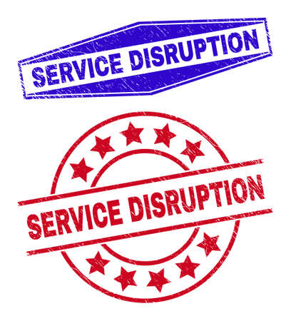 SERVICE DISRUPTION stamps. Red round and blue stretched hexagonal SERVICE DISRUPTION stamps. Flat vector grunge seal stamps with SERVICE DISRUPTION text inside round and extended hexagonal shapes.