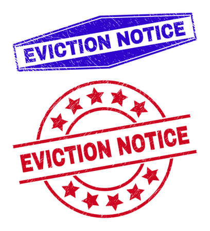EVICTION NOTICE stamps. Red circle and blue stretched hexagonal EVICTION NOTICE seal stamps. Flat vector distress seal stamps with EVICTION NOTICE message inside circle and extended hexagon shapes. 일러스트