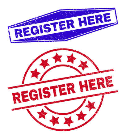 REGISTER HERE badges. Red rounded and blue flatten hexagonal REGISTER HERE stamps. Flat vector scratched stamps with REGISTER HERE title inside round and stretched hexagonal shapes.