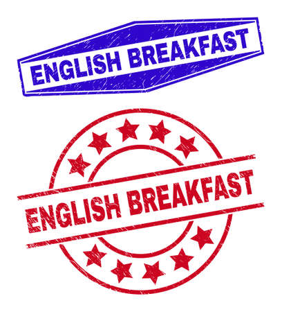 ENGLISH BREAKFAST stamps. Red rounded and blue compressed hexagon ENGLISH BREAKFAST seal stamps. Flat vector textured seal stamps with ENGLISH BREAKFAST tag inside circle and stretched hexagon shapes. 일러스트