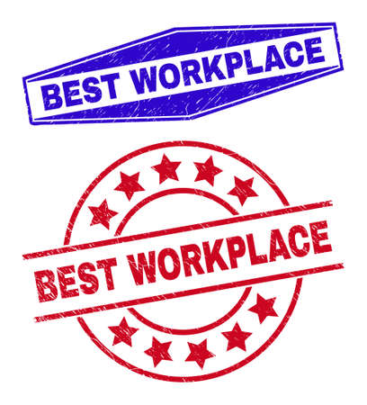 BEST WORKPLACE stamps. Red rounded and blue expanded hexagon BEST WORKPLACE seals. Flat vector grunge stamps with BEST WORKPLACE title inside round and flatten hexagon shapes. 일러스트