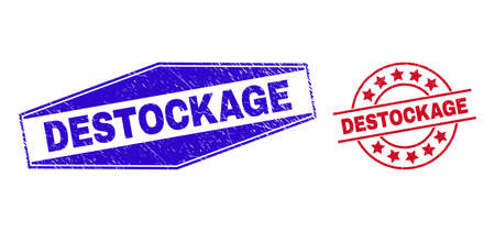 DESTOCKAGE stamps. Red circle and blue extended hexagon DESTOCKAGE seal stamps. Flat vector textured seal stamps with DESTOCKAGE text inside round and compressed hexagon shapes.