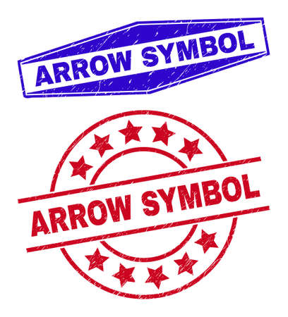ARROW SYMBOL stamps. Red circle and blue expanded hexagon ARROW SYMBOL watermarks. Flat vector distress watermarks with ARROW SYMBOL tag inside circle and extended hexagon shapes.
